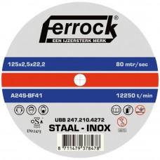 FERROCK DOORSLIJPSCHIJF INOX/STAAL 125 X 1.0 X 22.23 MM 25 STUKS